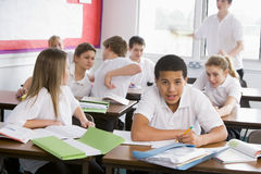 High school students in class stock photo