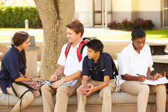 High School Students Hanging Out On School Campus Stock Photography