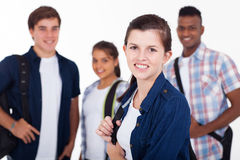 High school students. Happy high school students isolated on background Royalty Free Stock Photography