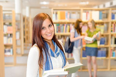 High school students at library read books Stock Photos