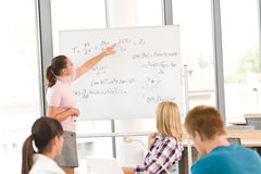 High school students with professor in classroom Royalty Free Stock Photo