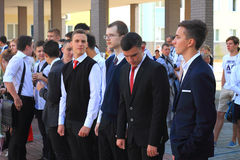 High school students at the solemn meeting on September 1 Royalty Free Stock Images