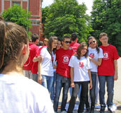 High school students before the start of the prom parade Royalty Free Stock Photo