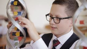 High school students study the structure of the DNA molecule in the class of biology and anatomy. Schoolchildren in school uniform are studying the layout of dna stock video footage