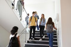 High School Students Walking On Stairs Between Lessons In Busy College Building royalty free stock photo