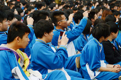 Chinese high school students. The Chinese  high school students are watching perform  photoed in Tianjin university  high school China  in April 2013 Stock Photos