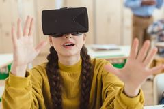 High school teenage student using virtual. Reality headset Stock Photography