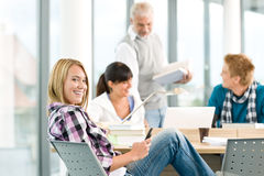 High school - three students in classroom Royalty Free Stock Images