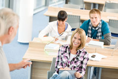 High school - three students with professor Stock Images