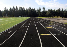 High School Track. A high school running track, around an astroturf football field Stock Photography