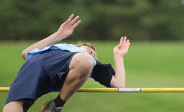 High School Track High Jump Stock Photo