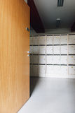 High School university room hallway student lockers Stock Photo