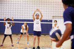 High School Volleyball Match In Gymnasium Royalty Free Stock Photography