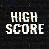 High Score glitch text. Anaglyph 3D effect. Technological retro background. Vector illustration. Creative web template. Flyer, poster layout. Computer program Stock Image