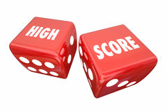 High Score Record Win Game Dice Words Stock Images