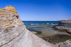 High sea coast Cliffs on Oland island Stock Photos