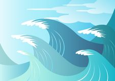High Seas. Huge blue surf waves about to break Royalty Free Stock Photo
