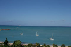 On The High Seas. Sailboats and Yachts on the caribbean sea Stock Photography