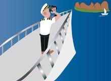 On the high seas. Ship captain with a binoculars Royalty Free Stock Photos