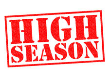 HIGH SEASON. Red Rubber Stamp over a white background stock illustration