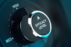 High Self Efficacy Level - Efficiency Objective. Self efficacy level button over black and blue background, conceptual image to illustrate efficiency or Stock Photography