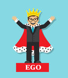 High self-esteem. Businessman with high self-esteem wearing a crown and robe and imagined himself king Stock Image
