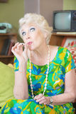 High Senior Lady Smoking Royalty Free Stock Photo