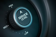 High service level. Service level button with low, medium and high positions, button is positioned in the highest position, black and blue background, blur Stock Images