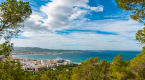High side view from hills in St Antoni de Portmany, Ibiza, clearing November day. Warm autumn breeze, Balearic Islands, Spain. High, hill side view of St Antoni stock photos