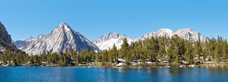 High Sierra Alpine Lake Panorama. East Vidette towering above Bullfrog Lake. California, USA stock photos