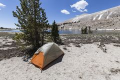 High Sierra Backpack Tent Site Stock Photo