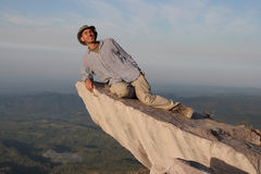 High in the sky. Me  on a rock at Santiaguito volcano. Vie in the lowlands of the Guatemala pacific coast Royalty Free Stock Photo