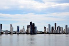 High sky buildings on shore Royalty Free Stock Images