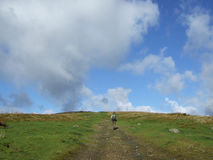 High sky with clouds. Walking in the Yorkshire Dales in England royalty free stock photo