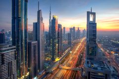 High in the sky, Dubai. Long exposure. Sunset from the Level 43 royalty free stock image