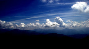 High in the sky, parachute Royalty Free Stock Images
