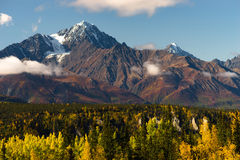 High Snow Covered Peaks Chugach Mountain Range Alaska. Fall is approaching in the Chugach National Forest Alaska stock images