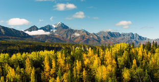 High Snow Covered Peaks Chugach Mountain Range Alaska. Fall is approaching in the Chugach National Forest Alaska stock photography