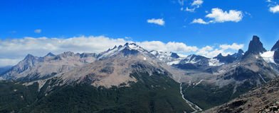 High snow and rocky mountains in Chile Patagonia Royalty Free Stock Images