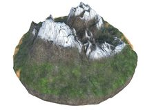 High snowy mountains on an isolated white background. 3d illustration stock illustration