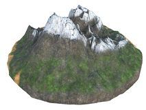 High snowy mountains on an isolated white background. 3d illustration royalty free illustration