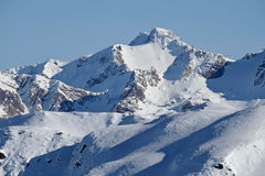The High and Snowy Peak of Mt Murchison as Viewed from Mt Bealey. Stock Images