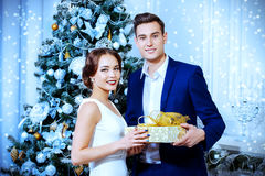 From high society. Merry Christmas and Happy New Year. Handsome young men gives a present to his charming girlfriend. Luxurious apartments decorated for Stock Image