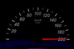 High Speed. On an automobile speedometer. Races Stock Image
