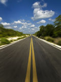 High speed. Empty highway view from a running car royalty free stock photo