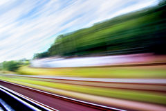 High speed. Abstract blurred rail, scene and sky Stock Photos