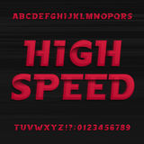 High speed alphabet font. Oblique dynamic letters numbers and symbols. Stock Image