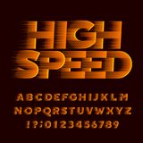 High speed alphabet font. Wind effect oblique type letters and numbers. Stock Images
