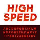 High Speed alphabet vector font. Motion effect letters and numbers. Stock Image