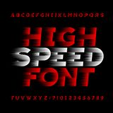 High speed alphabet vector font. Wind effect type letters and numbers on a black background. Stock vector typeface for your headers or any typography design Stock Photos